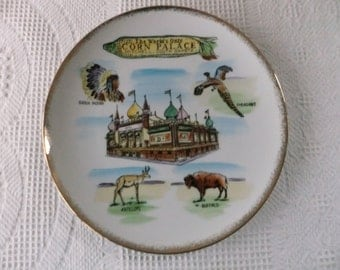 Vintage The World's Only Corn Palace Mitchell, South Dakota Souvenir Plate Large Hand Painted Decorative Collectible SD Travel Vacation
