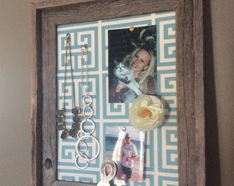 Barn Wood Framed Corkboard  Greek Key Fabric Distressed Reclaimed Wood Jewelry Holder (Item BL121)