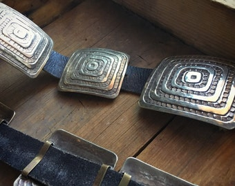 "Vintage modernist German silver concho belt 45"", Southwestern belt, large concha belt, bohemian belt, hippie belt, Native American belt"