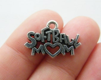 4 Softball mom charms antique silver tone M844