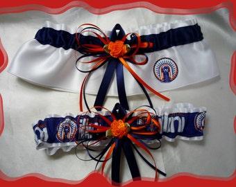 White Satin Fabric Wedding Garter Set Made with University of Illinois Fabric Loaded