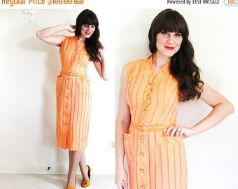 ON SALE 1940's Dress / 40s Wiggle Dress / 1940's Coral Orange Dress