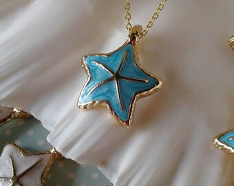 Starfish Necklace,Teal