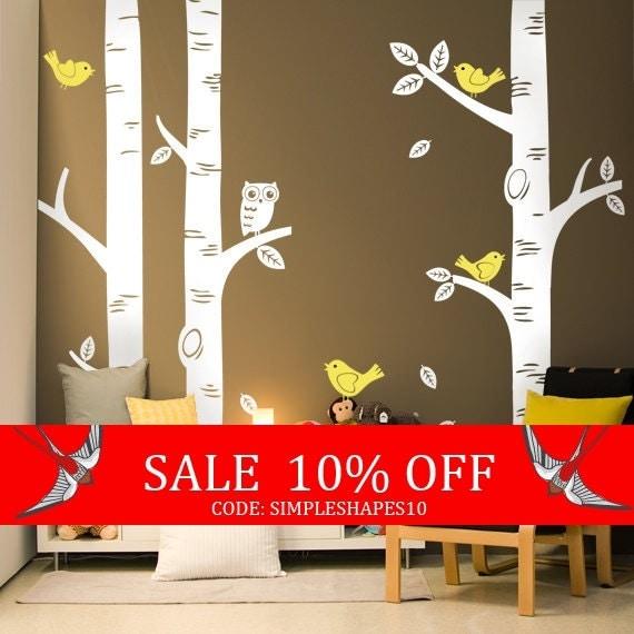 Sale - Birch Tree Decal With Birds, Birch Forest, Birch Tree Wall Art, Nursery Wall Art, Woodland Nursery, Nursery Decals, W1049