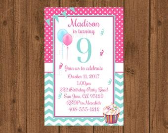 9th Birthday Party Invitation, 9th Birthday, Ninth Birthday Invitation, Girls Birthday Invitation, Cupcake Birthday Invitation