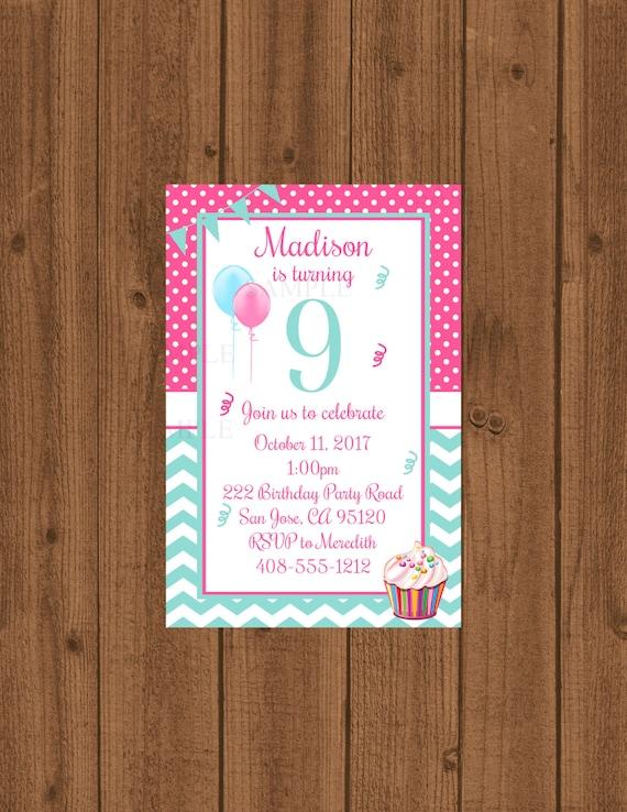 9th Birthday Party Invitation 9th Birthday Ninth Birthday