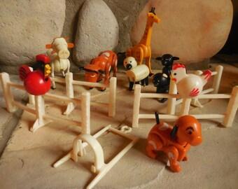 14 Piece Fisher Price Farm Animals plus a Giraffe