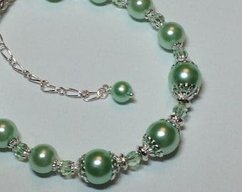 Peridot Pearl and Crystal Bridal Bridesmaid Bracelet