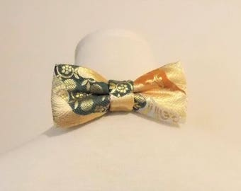 Men's bow tie made with KIMONO gold brocade mon wave flower motif gold green brown fits 15 -20inch ready to ship