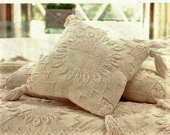 Vintage Row by Row Knitting Pattern Single Double Aran Style Afghan Bedspread Blanket Throw & Pillows Cushions