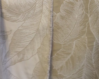 Tan Beige Cream  REVERSIBLE TROPICAL LEAVES Woven  Cotton Upholstery Fabric, 16-24-21-0415