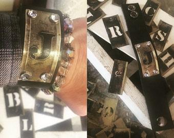 CUSTOM Initial brass stencil leather cuff.