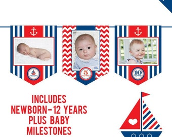 INSTANT DOWNLOAD Nautical Party - DIY printable photo banner kit - Includes Newborn through 12 Years, Plus Baby Milestones