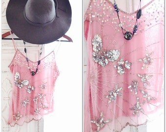 SM Vintage beaded cami, Pink shabby french market beaded cami top, Paris pink romantic boho top, Valentines Silver pink True rebel clothing