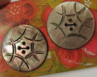 Antique Large 34mm Carved 6  Abalone Buttons Pair 2 Pieces