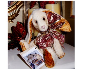collectable artist bunny, 9inch Maypo, Glass eyes, recycled wool, jointedd