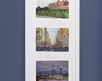 Three prints in one frame - watercolor paintings of New York City - upper west side cityscapes