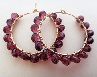 Red beaded hoop earrings red gemstone hoop earrings red and gold earrings wire wrapped hoops rhodolite garnet hoop earrings garnet gold hoop