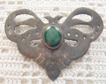 Vintage Brooch Arts & Crafts Sterling Silver Green Stone