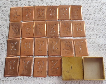 Vintage Copper Monogram Stencils 22 Pc.