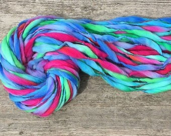 Handspun yarn, 52 yards, thick and thin in hand dyed merino wool - 3.1 ounces/ 88 grams