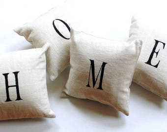 Home pillows, natural linen, stenciled letters, letter pillows, typography, trendy pillows, 8 inch pillow set