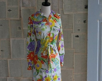 Vintage 1970s Dress 70s Floral Draw String Button Up Dress Jantzen Size Small