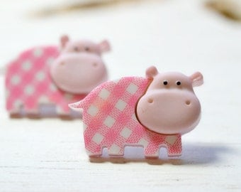 Large Hippo Earrings, Pink Gingham Hippo Studs, Pink White Plaid Earrings, Cute Nursery Animals Jewelry, Hippopotamus African Safari Jewelry