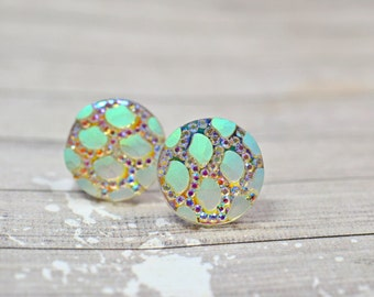 White Polka Dot Earrings, Sparkly Rainbow Party Jewelry, Stainless Steel Posts, New Years Eve Holiday Jewelry