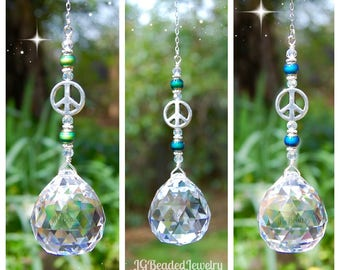 Color Changing Prism Crystal Suncatcher With Peace Sign and Mood Beads