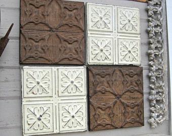Rustic wall decor, Antique Architectural Salvage, 4 Ceiling Tin Tiles, Farmhouse decor, Chippy Paint, Vintage Frames Home Decor