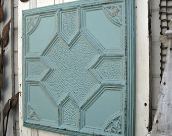 """FRAMED 24""""x24"""" Antique Ceiling Tin Tile. Circa 1900.  Vintage Architectural salvage. Ready to Hang. Beach turquoise aqua decor."""