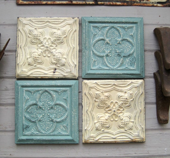 Tin ceiling tile set 12 x 12 framed tiles by driveinservice for Individual ceiling tiles for sale