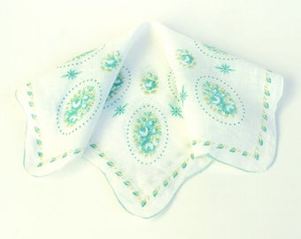 Vintage Handkerchief Green and White