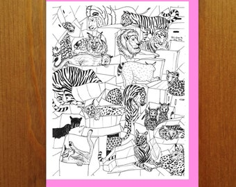 Big Cats - Color Your Own Greeting Card - Adult Coloring Card