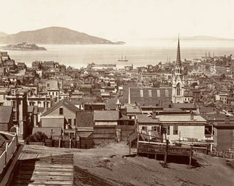 Old San Francisco 1860s View of Alcatraz and Angel Island Church Steeple Victorian City Sepia or Black and White Photography Photo Print