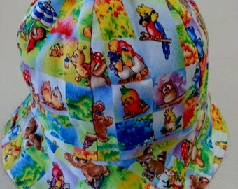 Baby boy's or girls handmade cotton hat forest animals bears turtles size 46cm fit newborn - 6 mths free Aus post.