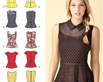 Peplum Tops Pattern, Peplum Blouse Pattern, Simplicity Sewing Pattern 1425