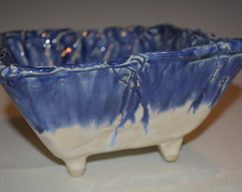 Ceramic Bowl, Large Pottery Bowl, Serving Bowl, Square Ceramics and Pottery Bowl, Blue and White, Pottery Handmade