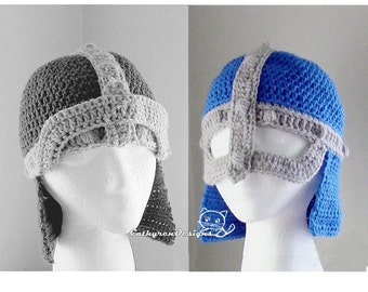 Knight Helmet with Flip up-down Mask, Crochet Pattern INSTANT DOWNLOAD