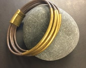 Leather Wrap Bracelet - Grey Leather Wrap Bracelet