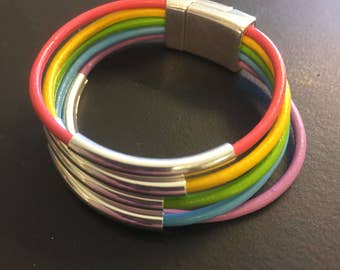 Leather Wrap Bracelet - Child's Leather Wrap Bracelet - Rainbow Leather Wrap Bracelet - Order With or Without Heart Charm or Metal Tubes