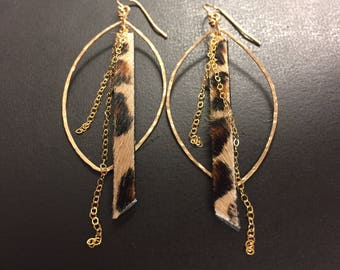 Hoop Earrings - Bohemian Earrings - Leopard Print Leather - 14k Gold Fill