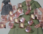 Pink Lucite Buttons 21 Square Pearlized Pink Lucite Shank Buttons