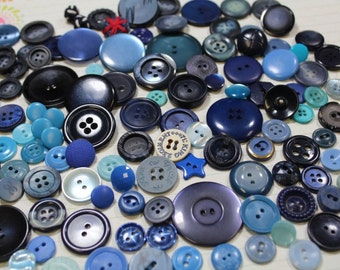 Blue Plastic Buttons 100 Blue Plastic Crafting Buttons Sewing Buttons