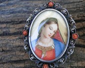 RESERVED for A - Vintage Hand Painted Madonna Miniature Portrait Brooch/Pendant