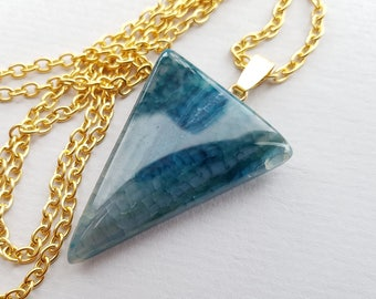 Dark Turquoise Blue Cracked Agate Triangle Necklace, Blue Necklace, Blue Agate, Geometric Necklace, Quality Semi Matte Gold Plated Chain