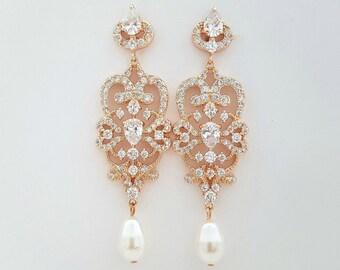 Rose Gold Bridal Chandelier Earrings Vintage Style Wedding Earrings Pearl Cubic Zirconia Bridal Jewelry Long Pearl Drop Earrings, Victoria