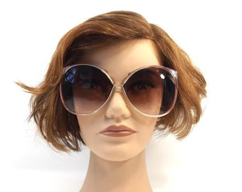 vintage 70s huge round sunglasses purple translucent crystal clear bugeye lens plastic sun glasses eyewear fashion retro women opti ray 79