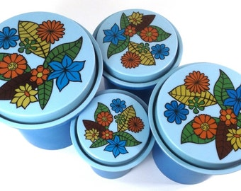 vintage 70s blue kitchen canister set melmac melamine hard plastic groovy mod flower power rubbermaid kitsch retro container storage round